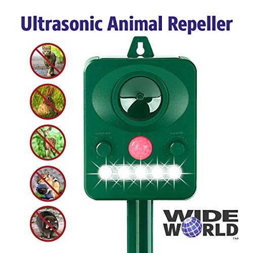 - Wide World Ultrasonic Animal Pest Repeller, Outdoor Solar Powered Pest and Animal Repeller - Effectively Scares Away All Outdoor pests and Animals Such as Dogs, Raccoons (5.4x4.3, Green)