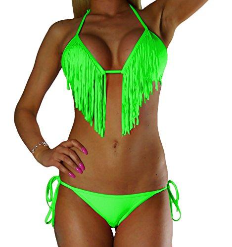 Maillot De Avec Néon Vert Haut Bikini Alzora Bain Franges Femme small Bandeau X 10195 HU50qd