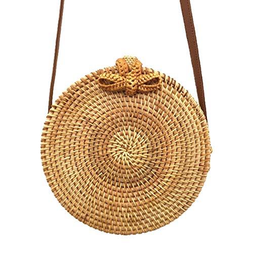 Women Rattan Straw Bag Handwoven Crossbody Bag Leather Shoulder Chic Hand Summer Beach Bag