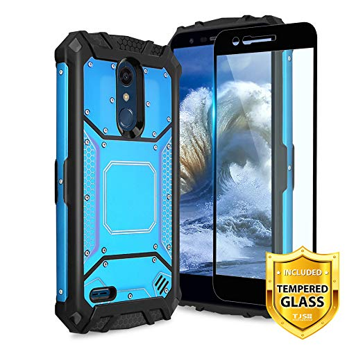(TJS LG K10 2018/K30/Premier Pro LTE/Harmony 2/Phoenix Plus Case, with [Tempered Glass Screen Protector] Aluminum Metal Premium Shockproof Military Case Built-in Metal Plate Back (Blue))