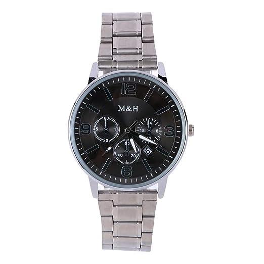 VEHOME Hombre Reloj de Calendario Simple para Hombre Reloj de Cuarzo con Tres Ojos y Esfera de Acero Inoxidable Relojes relojero Reloj reloje hombresRelojes ...