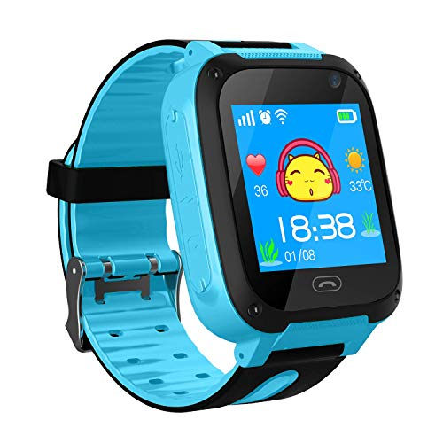 Kids Smart Watch Phone smartwatches for Children with GPS Tracker sim Card Anti-Lost sos Call Boys and Girls Birthday Compatible Android iOS Touch Screen (GPS Blue) (The Cheapest Watch In Kids)