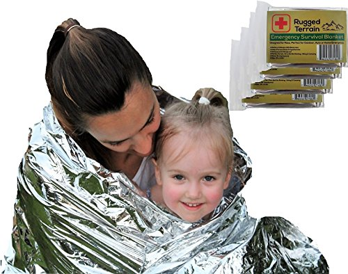 Price comparison product image Emergency Survival Blanket Designed for NASA with up to 90% Heat Retention Waterproof Mylar Thermal Blankets for Backpacking Bug Out Bag First Aid Kit Pack of 4