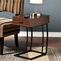 Pemberly Row Side Table with Power and USB in Walnut