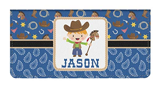 Blue Western Genuine Leather Checkbook Cover (Personalized)