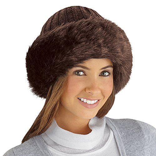 Brown Faux Fur Trimmed Knit Hat Winter Gift Russian Warm Style