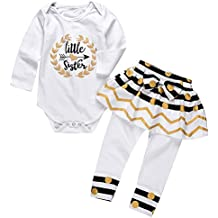 Little Sister Clothes Baby Girls Long Sleeve Romper T-shirts and Skirt Leggings
