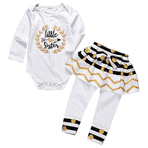 BAOBAOLAI Baby Girls 2PCs Outfits Little Sister Long Sleeve Romper + Skirt Legging Pants Set (Skirt Top Outfit)
