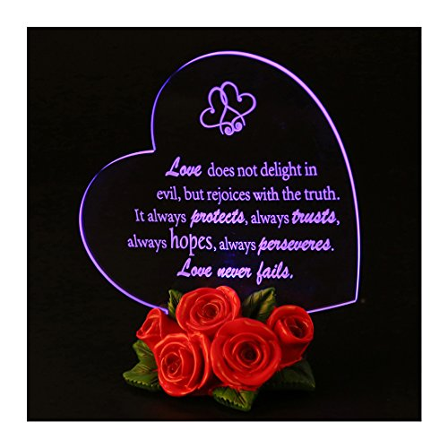 Giftgarden LED Wedding Decor Cake Toppers Heart Shaped with Rose for Wedding Anniversary Gifts, Fiançailles Gift, Friends Gifts