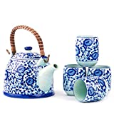 white japanese teapot - Contemporary Chinese Japanese Blue and White Tree Porcelain 4 cup Teapot Set with removable handle