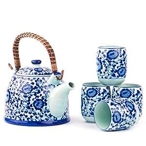Amazon Com Japanese Peony Large 4 Teacups Kettle Tea Set