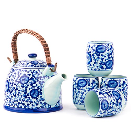 Contemporary Chinese Japanese Blue and White Tree Porcelain 4 cup Teapot Set with removable handle