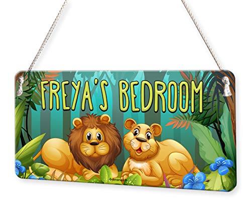 (Jungle Lion Forrest Personalised Childs Bedroom Door Sign Name)
