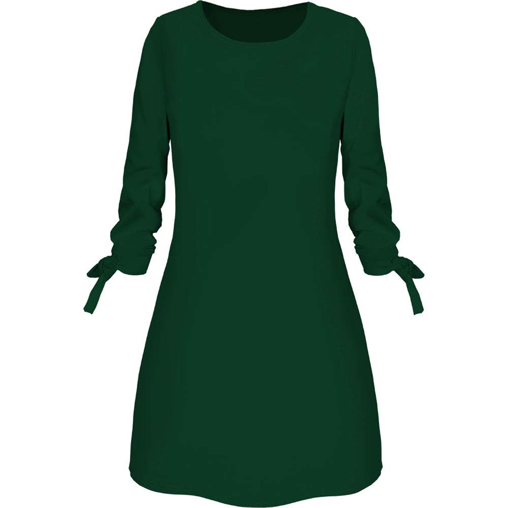 Ballad Women's Dress,Casual Brief Fashion, Round Neck Solid Color Bow Loose Mini Skirt Green