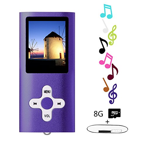 Btopllc Lecteurs MP3 8 Go Lecteurs MP3 MP4 Lecteur MP3 / MP4 Entrée audio numérique Compact Music Music Hi-Fi Lecteur MP3 Media Player (violet)
