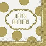 Unique 16 Count Golden Birthday Party Napkins, Multicolor