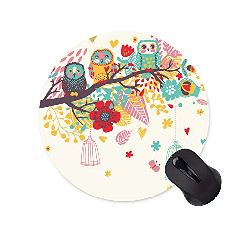 Watercolor Owl Background Mouse Pad Round Non-Slip Mouse Pad Office Computer Accessories Mouse Pad Gaming Mouse Pad (200mm x 200mm...