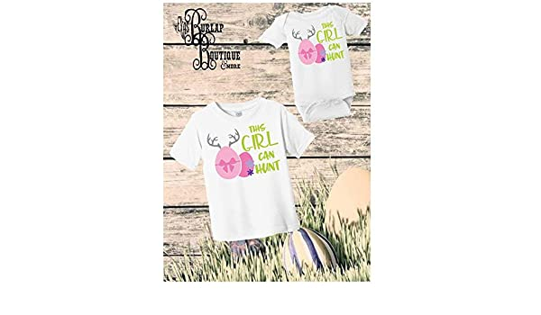 9be84f0d Amazon.com: Handmade Easter This girl can Hunt Shirt, Girls Easter Shirt,  Bunny Shirt, Girls, Toddler, Girl Shirt, First Easter, Easter Outfit, Baby  Easter: ...
