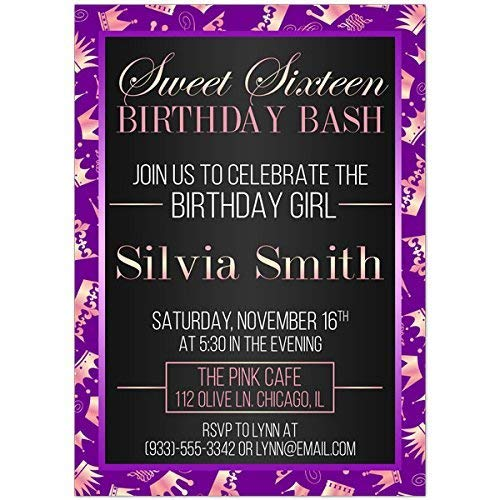 Image Unavailable Not Available For Color Princess Purple Sweet Sixteen 16 Birthday Party Invitations