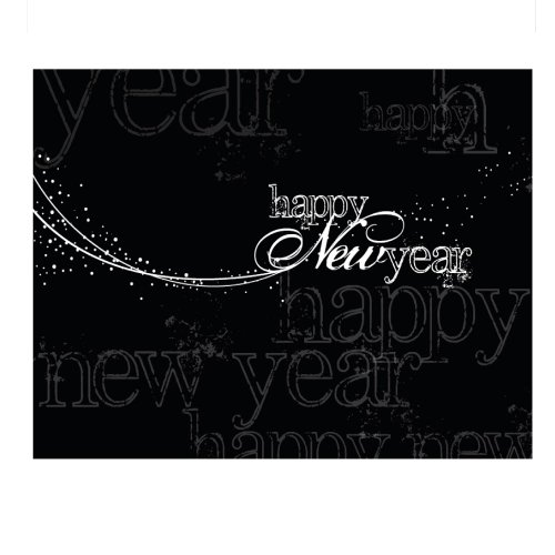 New Year Greeting Card N1201. Send this dramatic design to friends, family or business associates. Silver foil-lined envelopes.