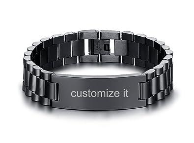Amazon.com: PJ Jewelry - Pulsera de acero inoxidable para ...
