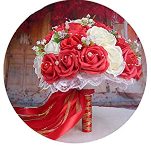 mamamoo 30 Rose Wedding Bouquets 2019 Handmade Bridal Flower Wedding Party Gifts Wedding Accessories Flowers Pears Beaded with Ribbon 37