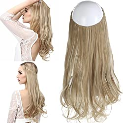 """SARLA 14"""" 16"""" 18"""" 4.3oz Synthetic Wavy Halo Hair Extension Natural Hairpieces No Clip No Glue No Tape (M03, 16H613 Dirty Blonde)"""