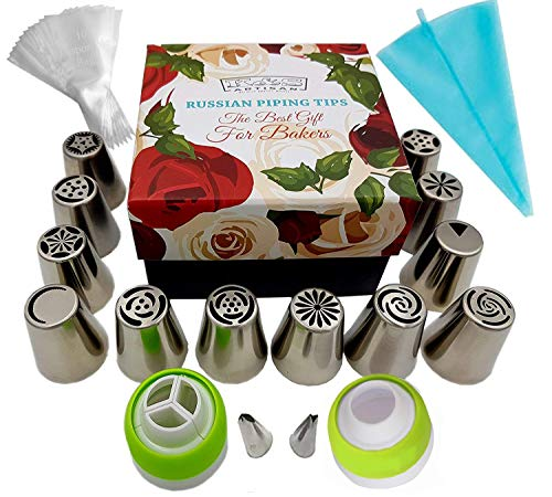 (K&S Artisan Russian Piping Tips Cake Cupcake Decorating Supplies Kit Baking Supplies Set 12 Icing Nozzles 2 Couplers 10 Frosting Bags 2 Leaf tips 1 Silicone Bag in a Gift Box + User Guide)