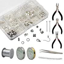 Md trade DIY Jewelry Making Supplies Kit, Jewelry Findings Starter Making Kit and Repair Tools, Pliers, Beading Wires, Tweezers for Adults and Beginners