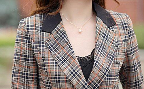 Collo Giacca Blazer Risvolto a Jacket La Plaid Vogue Plaid Slim in da Misti Donna Quadri Yqgw5