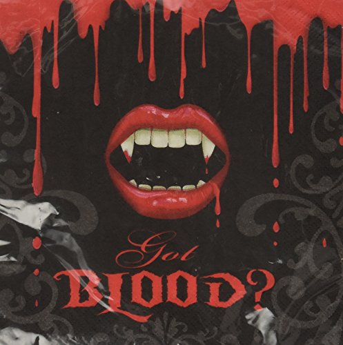 16 serviettes de table en papier Vampire Bite Blood Halloween