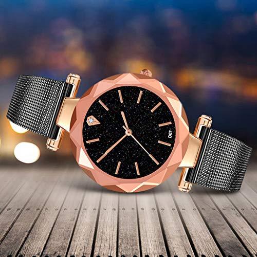(Sodoop Women Wrist Watch,Simple Starry Black Round Shape Dial Watches with Stainless Steel Mesh Strap,Casual Rhinestone Quartz Wristwatch Timepiece (Black))