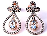 LeVian Aquamarine Chocolate and White Diamonds 3.12 cttw Drop Dangle Earrings 14k Solid Rose Gold