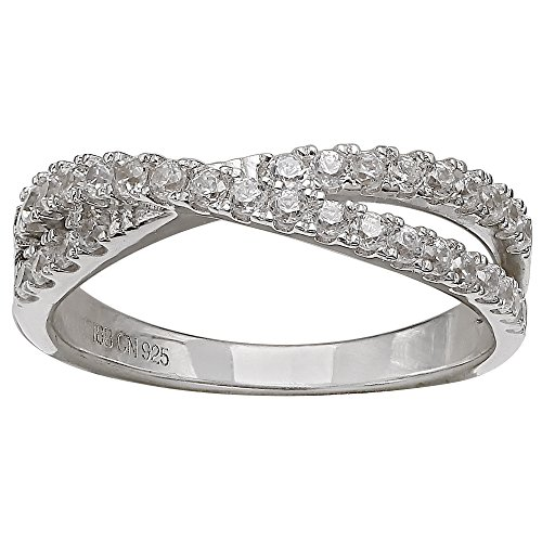 Sterling Silver Crossover Ring - Milla 925 Sterling Silver Cubic Zirconia Crossover Band Ring Size 7