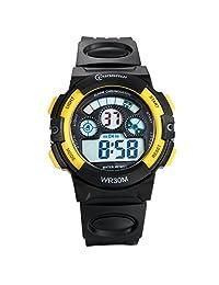 Lancardo Reloj Deportivo Digital de Multifunción con Luces Pulsera Electrónica Resistente al Agua de 30m para Actividad Deportes Exteriores para Chicos Estudiantes (Amarillo)