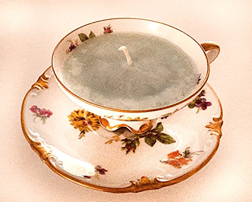 Teacup Candle - Vintage Mitterteich Bavara Meissen China with Floral Design and Lighthouse Scented Soy Wax Candle