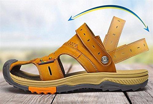 W&XY Hommes outdoor sandales en cuir sport chaussures de plage Baotou antidérapant pantoufles déodorant , brown