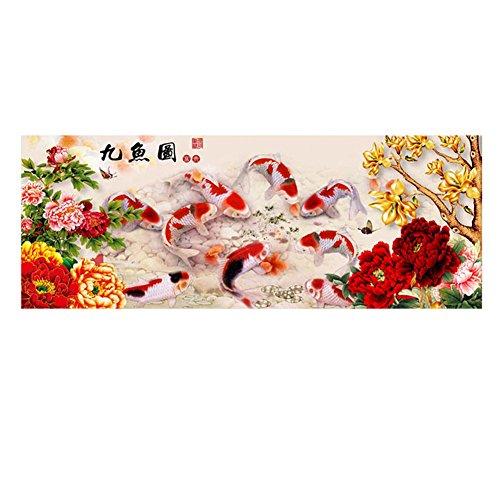 Daxin DIY 5D Nine Fish Auspicious Home Decor Embroidery Kit Round Diamond Painting Cross Stitch