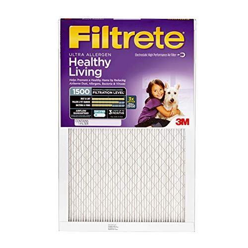 Filtrete 20x20x1, AC Furnace Air Filter, MPR 1500, Healthy Living Ultra Allergen, 4-Pack ()