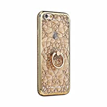 Gold Plating Case 3D Rugged Flower Glitter Diamonds Phone Cases For iPhone 7 7plus TPU soft Ring Cover For iPhone 6 6S/ Plus 5S