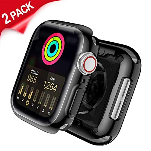 Uitee [2-Pack Black Cases for Apple Watch Screen Protector 40mm Series 4, Full Coverage Protective Case TPU HD Ultra-Thin Cover + [1-Pack] Apple Watch Band 40MM Sport Loop, Red/Black ()