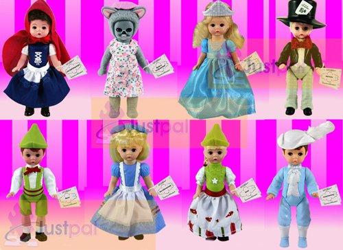 2010 McDonalds Madame Alexander Complete Sets of 8 Storybook Dolls ; Contains Alice in Wonderland , Mad Hatter , Cinderella , Prince Charming , Gretel , Hansel , Little Red - Alice Doll Wonderland Madame Alexander In