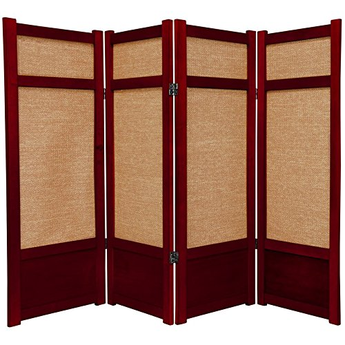 ORIENTAL FURNITURE 4 ft. Tall Low Jute Shoji Screen - 4 Panel - Rosewood