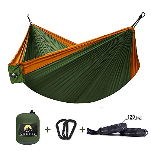 LHOTSE Double Single Hammocks – Lightweight Parachute Portable Hammocks for Hiking, Travel, Backpacking, Beach. 120 Long Tree Straps Steel Carabiners Included