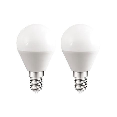 Pack 2x Bombillas esféricas LED E14 6W luz calida (3000K) 470 Lm.