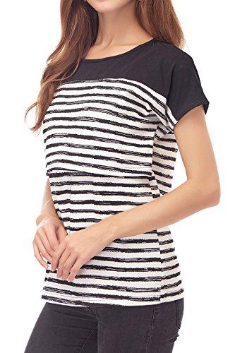 Smallshow Women's Maternity Nursing Tops Breastfeeding T-Shirt Large Black by Smallshow (Image #3)