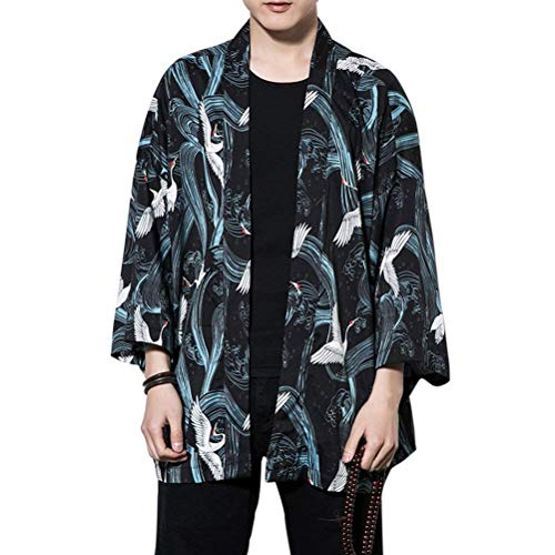 del Haori De Algodón Chaqueta Chaqueta para La De Ocasional De De Verano fashion Tamaños Kimono Mujer Hippie Ropa Capa Hombre Chino Negro para HX Estilo Chaqueta Cómodos qPxnwt0Zw7