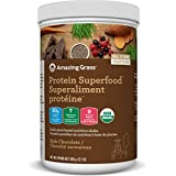 Amazing Grass Organic Plant Based Vegan Protein Superfood Powder, Flavor: Rich Chocolate, 360 Grams, Meal Replacement Shake