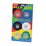 Chartpak : Deco Bright Decorative Tape, 1/8'' x 324'', Red/Black/Blue/Green/Yellow, 6/Box -:- Sold as 2 Packs of - 6 - / - Total of 12 Each