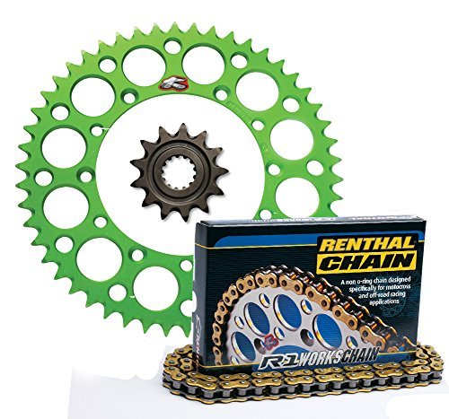 - Renthal Front Sprocket Grooved 14T, Green Rear Sprocket Ultralight 50T, and Gold R1 Works 420 Chain 420 x 130 for Kawasaki KX80, KX85, KX100 Models 258--420-14GP|191U-420-50GEGN|C246